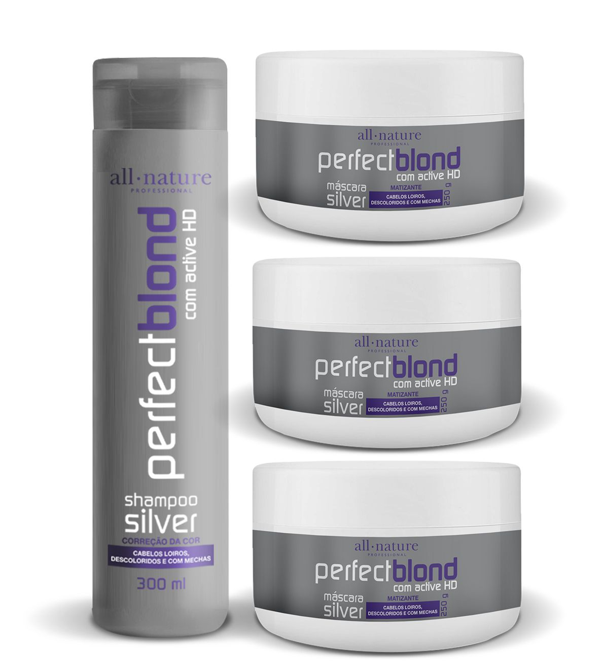 Kit Com 3 Máscaras Silver Matizantes 250g + 1 Shampoo Silver Matizante 300ml - All Nature