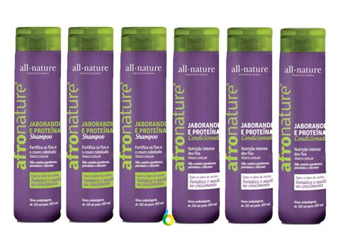 Kit com 3 Shampoo e 3 Condicionador de Jaborandi e Proteínas Afro Nature  300ml - All Nature