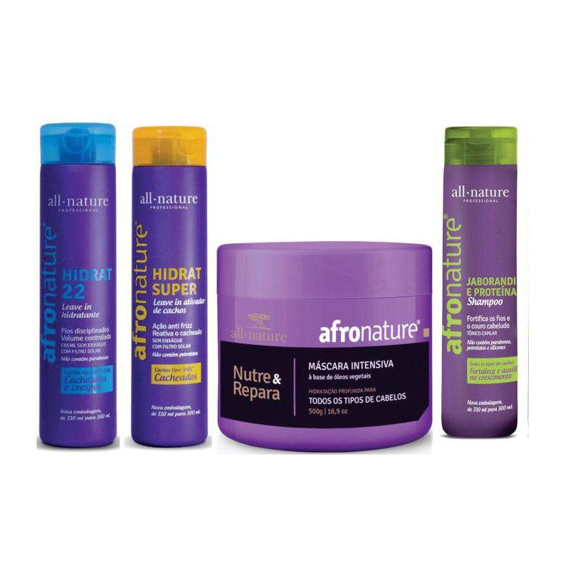 Kit de Manutenção; Hidrat 22 e Ativador Cachos 300ml + Máscara Intensiva 500g + Shampoo Jaborandi 300ml Afro Nature - All Nature