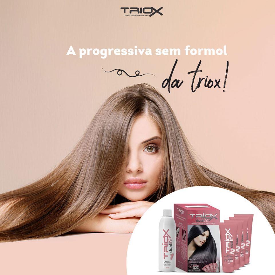 Kit Dual Liss Escova Progressiva Sem Formol Triox - All Nature - Seca e Prancha Sem o Produto no Cabelo