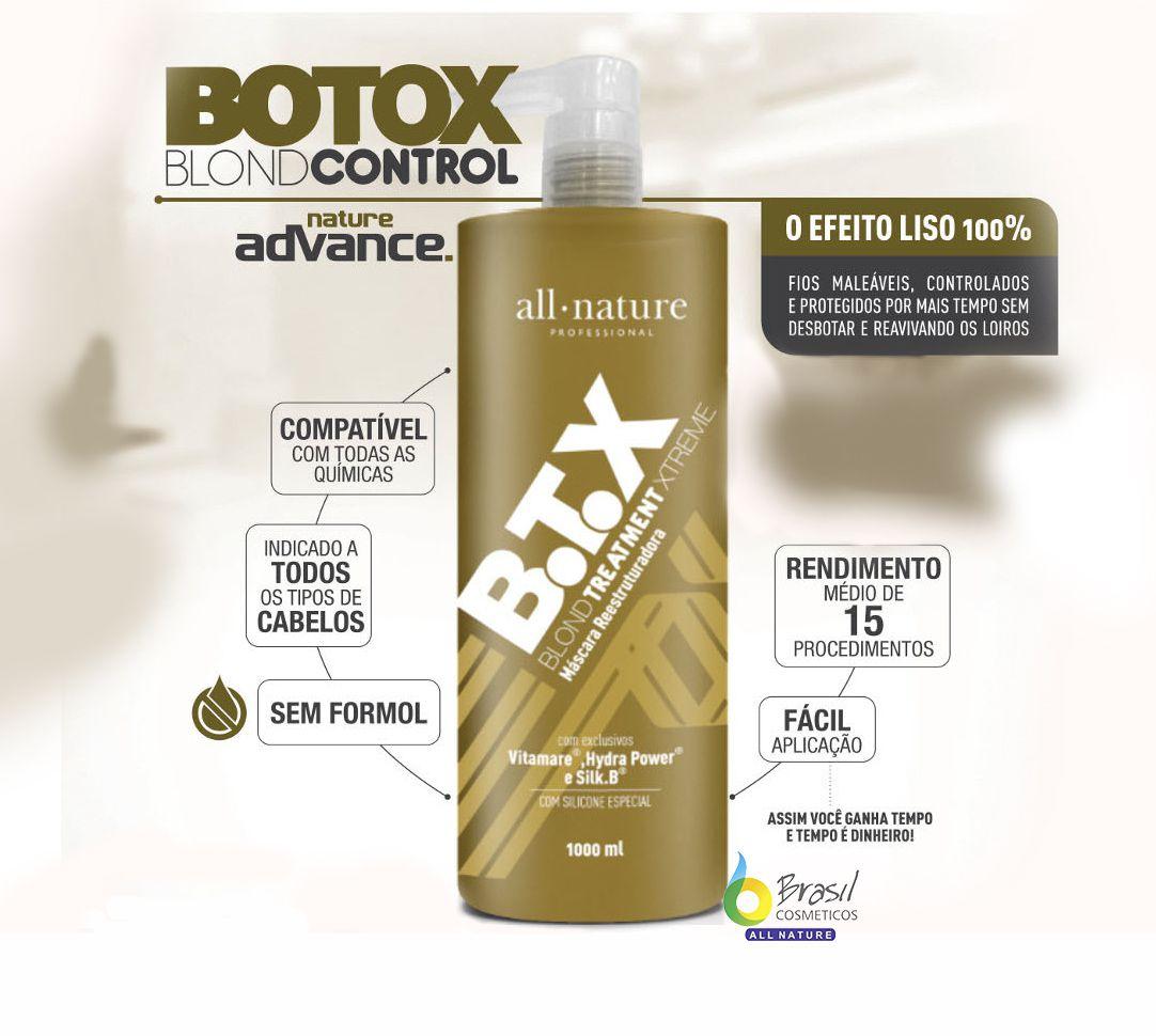 Kit Escovas Progressivas All Nature Advance Pro Complex 1000ml, Botox Blond 1000ml e Shampoo Limpeza Profunda 1000ml