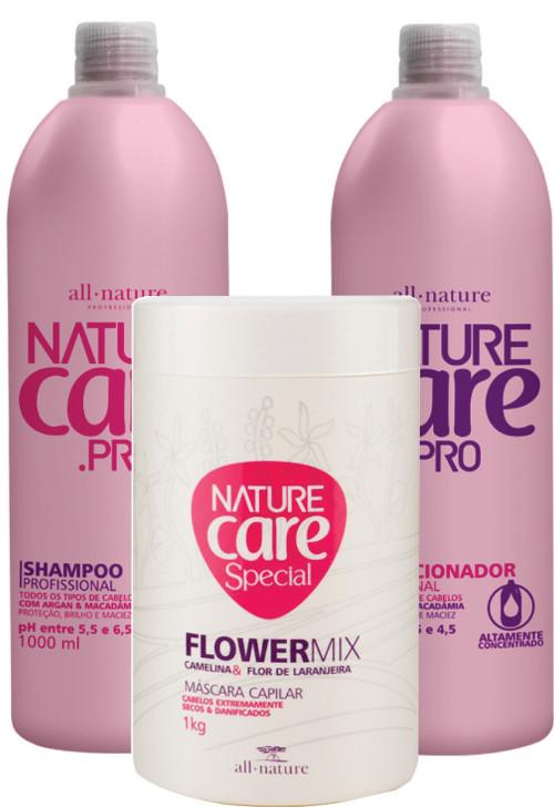 Kit Nature Care Pro  Shampoo 1000ml + Condicionador 1000ml + Máscara Capilar Flowermix  Cabelos Danificados e Pós Quimica  All Nature