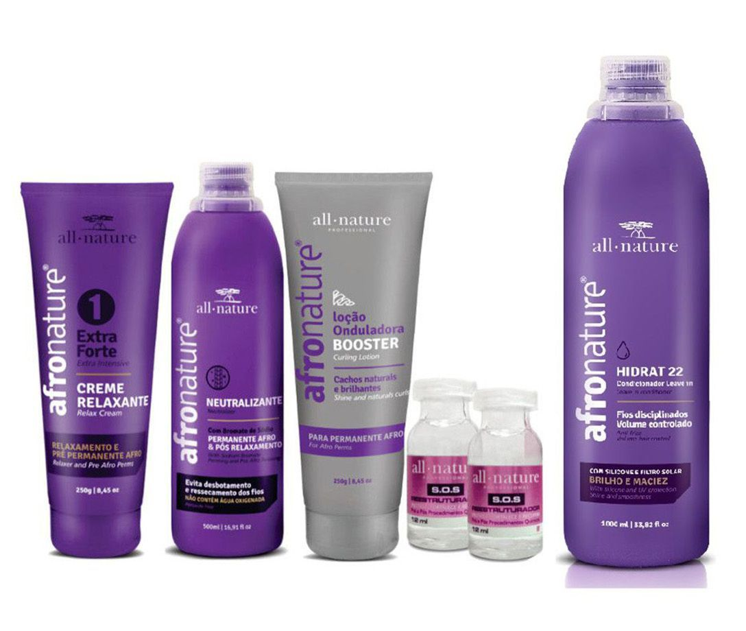 Permanente e Relaxamento Capilar Profissional Afro Nature + Leave In Creme Para Pentear Hidrat 22 1000ml - All Nature