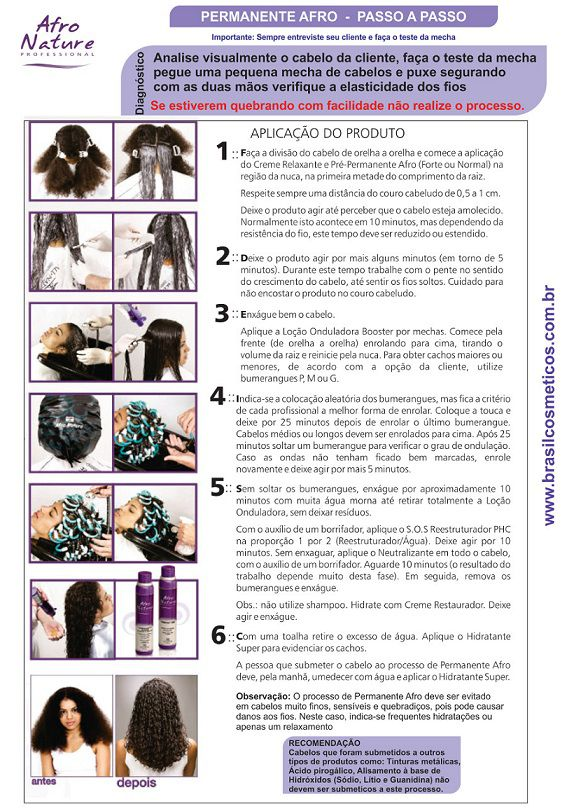 Kit Permanente Afro Profissional, Relaxamento Capilar e Manutenção Para Cabelos Cacheados All Nature - Brasil Cosméticos