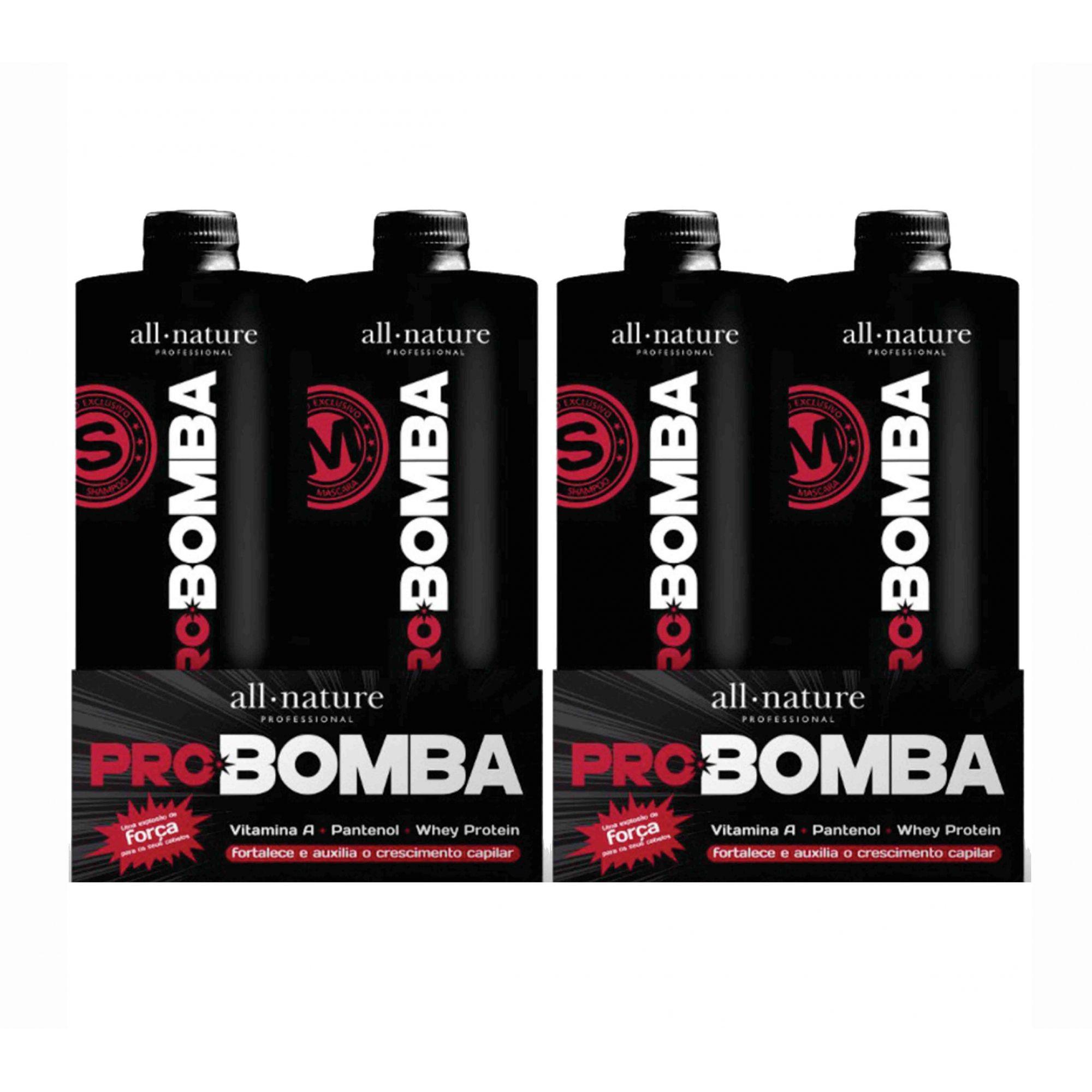 All Nature Kit Pro Bomba Força e Crescimento, Contém Vitamina A, Pantenol, Whey protein e Mix de Aminoácidos 2 Kits