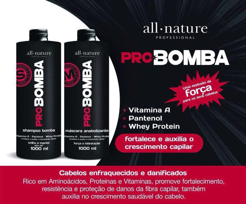 Kit Pro Bomba All Nature, Contém Vitamina A, Pantenol, Whey protein e Mix de Aminoácidos Que Fortalece e Auxilia no Crescimento  3 Kits