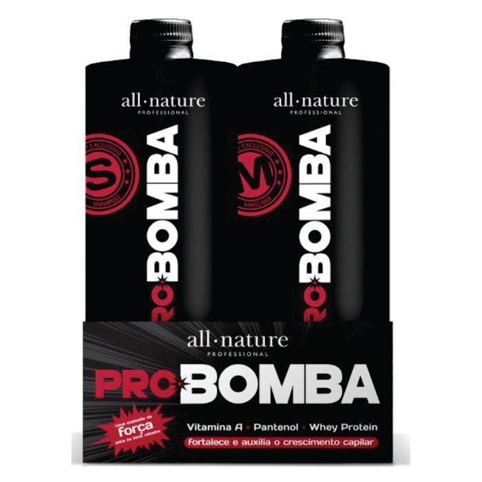 Kit Pro Bomba All Nature, Contém Vitamina A, Pantenol, Whey Protein e Mix de Aminoácidos Que Fortalece e Auxilia no Crescimento