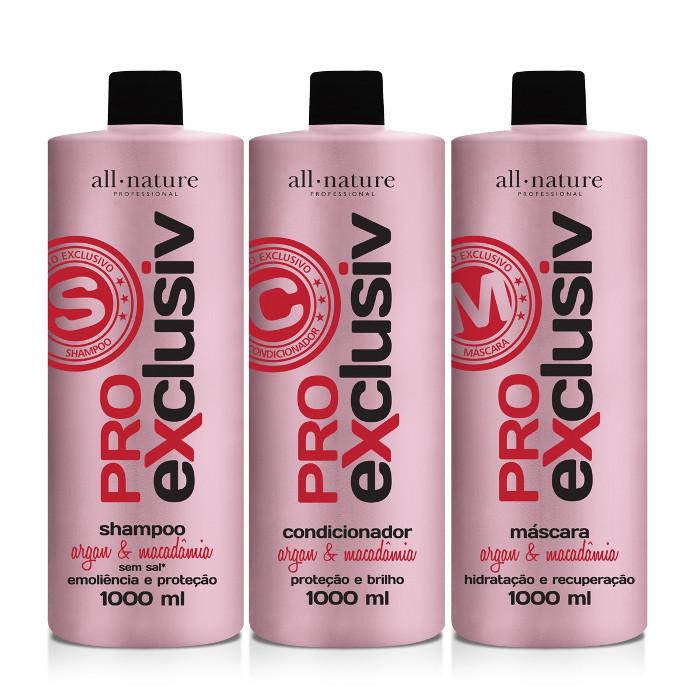 Kit Pro Exclusiv Tratamento Força e Nutrição, Shampoo, Condicionador e Máscara de 1000ml - All Nature