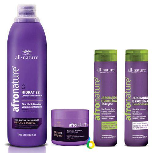 Hidrat 22  Leave In (Creme de Pentear 1000ml, Máscara Intensiva 500g, Shampoo e Condicionador de Jaborandi 300ml All Nature - Manutenção Para Cabelos Anelados, Cacheados, Crespos, Afros e Relaxados