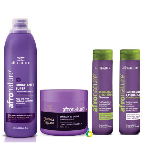 All Nature Hidratante Super Ativador de Cachos, Máscara Capilar Intensiva Cabelos Secos, Shampoo Jaborandi e Condicionador Auxilia queda e Crescimento