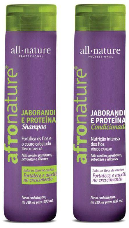 All Nature Ativador de Cachos Hidratante Super1000ml. Máscara Intensiva 500g, Shampoo Shampoo e Condicionador Jaborandi 300ml Afro Nature - Cabelos Cacheados, Relaxados e Com Permanente Afro