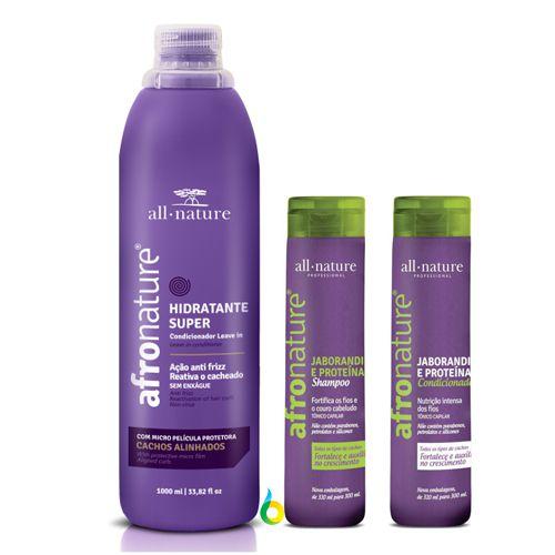Ativador de Cachos Hidratante Super, Shampoo e Condicionador Jaborandi E Proteínas Afro Nature, Para Cabelos, Anelados, Cacheados, com Relaxamento e Permanente Afro - All Nature