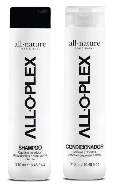 Máscara Reconstrutora Nanotecnologia Com Celulas Tronco + Shampoo e Condicionador Alloplex All Nature - Tratamento e Manutenção Perfeita Para Cabelos Oleosos a Pouco Secos, Tintos, Loiros, Descolorido