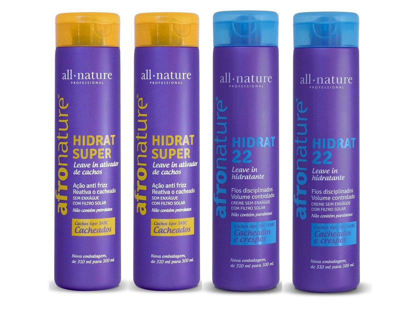 Kit Afro Nature Hidratante Super Ativador de Cachos e Hidrat 22 Creme Para  Pentear All Nature - 4 Unids. A Escolher