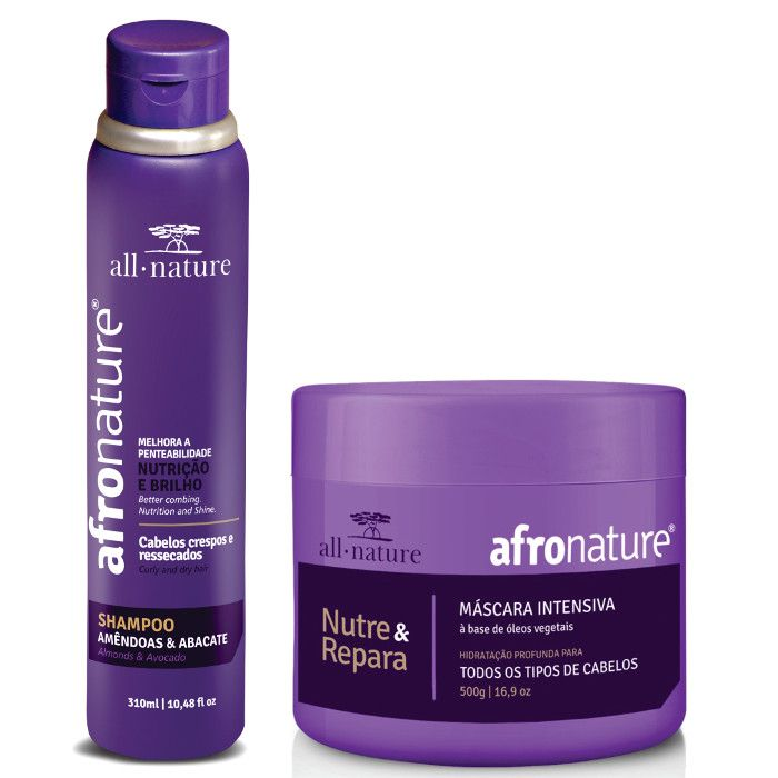 Shampoo Amêndoas e Abacate 300ml + Máscara Intensiva Afro Nature 500r - All Nature