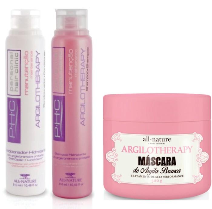 Kit  Shampoo, Condicionador e Máscara Hidratante Argilotherapy - Argila Branca e Proteínas