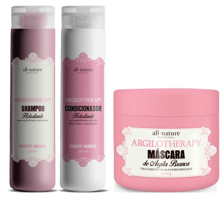 Kit Shampoo e Condicionador Hidratante Argilotherapy 300ml + Máscara Argilotherapy com Argila Branca, Tratamento de Alta Performance  Com Argila Branca e Proteínas 500g - All Nature