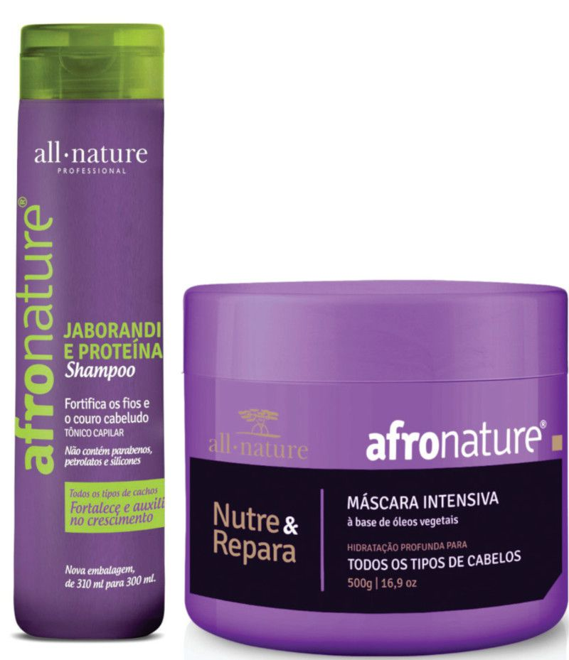 Shampoo de Jaborandi 300ml e  Máscara Intensiva 500g Afro Nature - All Nature