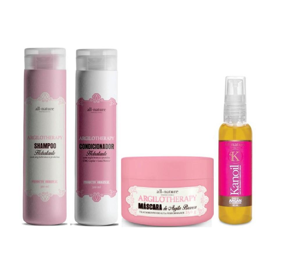 Kit Shampoo e Condicionador Hidratante Argilotherapy 300ml  + Máscara Argilotherapy com Argila Branca, Tratamento de Alta Performance 250g + Óleo de Argan 60ml - All Nature