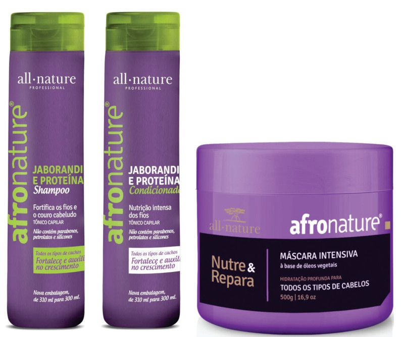 Kit Shampoo e Condicionador Jaborandi 300ml + Máscara Intensiva Afro Nature 500g - All Nature