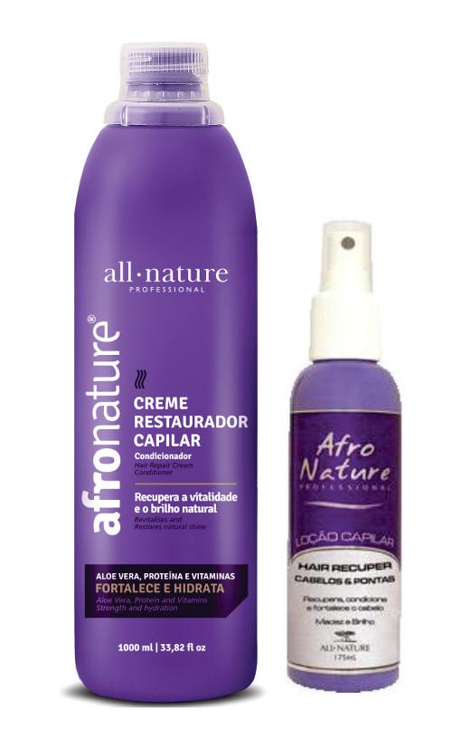 Kit Tratamento Para Cabelos Anelados e Crespos Oleosos a Ressecamento Médio  Creme Restaurador Capilar 1000ml + Hair Recuper Cabelos e Pontas 175ml All Nature