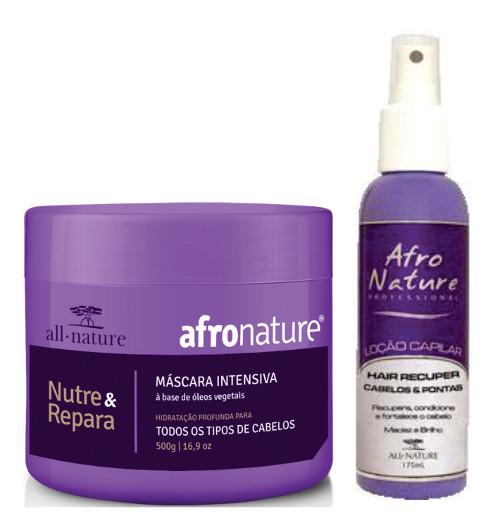 Kit Tratamento Para Cabelos Crespos e Afros Secos a Ressecados  Máscara Intensiva 500ml + Hair Recuper Cabelos e Pontas 175ml All Nature