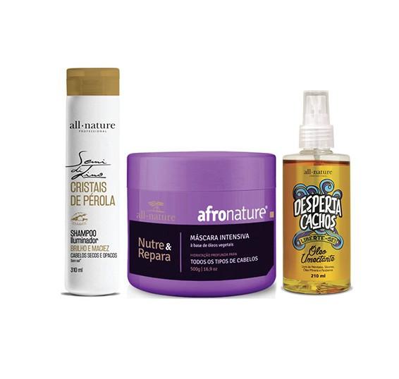 Máscara Afro Intensiva 500g + Oleo Umectante + Shampoo Iluminador Semi Di Lino Cristais de Pérola All Nature