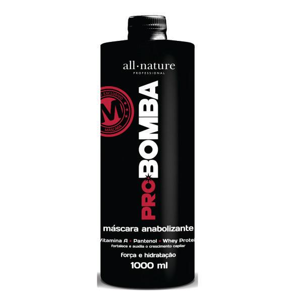 Máscara Anabolizante Pró Bomba 1000ml All Nature: Contém Vitamina A, Pantenol, Whey protein e Mix de Aminoácidos Que Fortalece e Auxilia no Crescimento