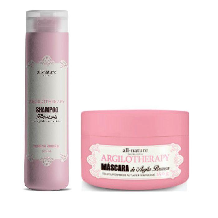 Máscara Argilotherapy 250gr tratamento de Alta Performance e Shampoo Hidratante Argilotherapy 300ml - All Nature