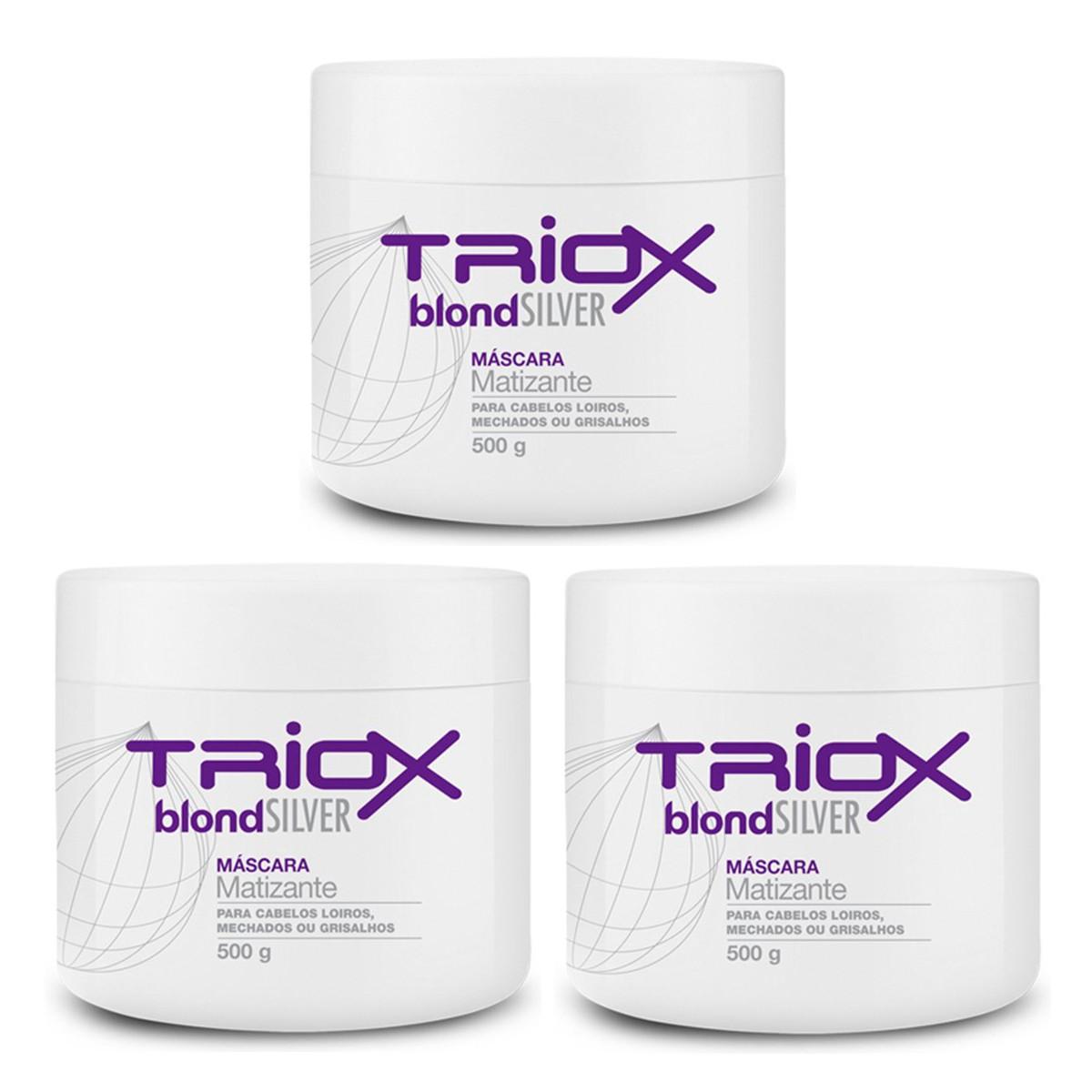 Máscara Blond Silver  Matizante Para Cabelos Loiros, Mechados e Grisalhos 500g  - Triox 3 unidades