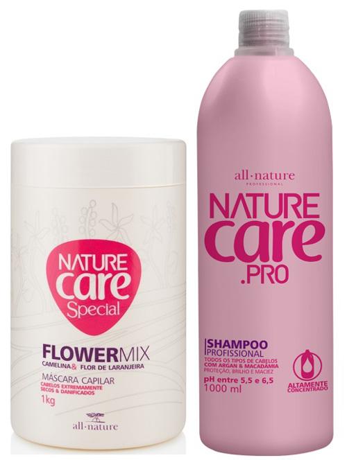 Máscara Capilar Flowermix  Cabelos Extremamente Danificados e Pós Quimica 1 Kg + Shampoo 1000ml Nature Care   All Nature