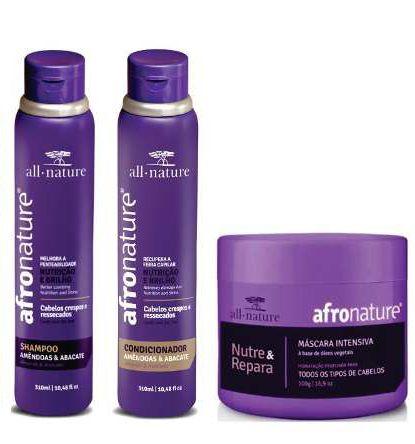 Máscara Capilar Intensiva 500g + 1 Shampoo e 1 Condicionador Amêndoas e Abacate 300ml Afro Nature - All Nature