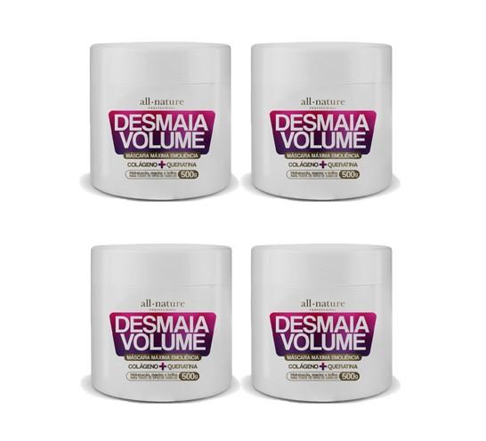 Máscara Desmaia Volume All Nature, Colágeno E Queratina 500g  4 UNIDS.