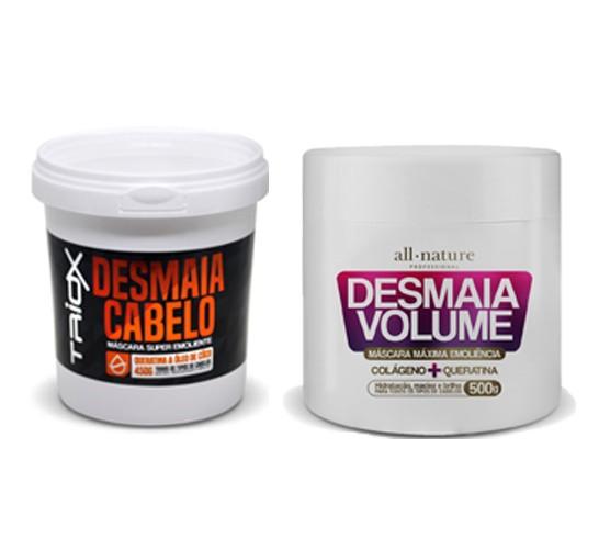 Mascara Desmaia Volume Colágeno e Queratina 500g All Nature e Desmaia Cabelo Queratina e Óleo é Coco 450g Triox