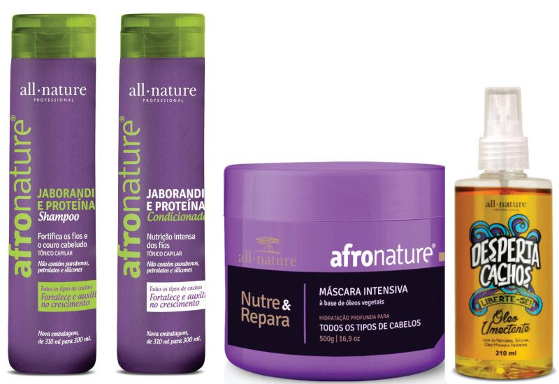 Máscara Intensiva Afro Nature 500g + Óleo Umectante + Shampoo e Condicionador Jaborandi 300ml - All Nature
