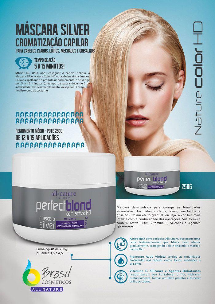Máscara Perfect Blond All Nature, Matização e Cromatização Capilar Para Cabelos Claros Loiros Mechados e Grisalhos 250gm4 Unids.