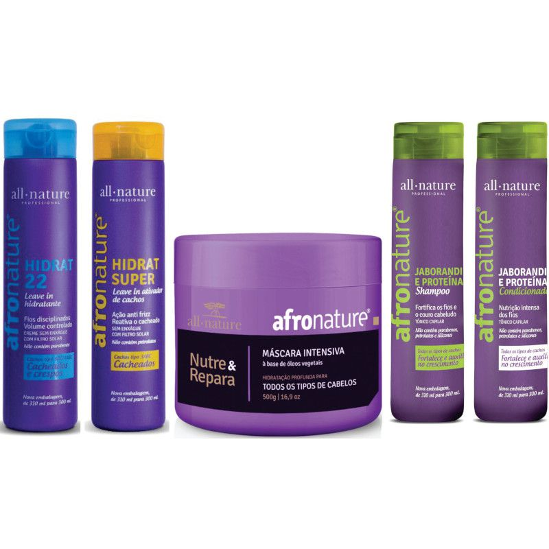 Kit de Manutenção; Hidrat 22 e Ativador Cachos 300ml + Máscara Intensiva 500g + Shampoo e Condicionador Jaborandi 300ml- Allnature