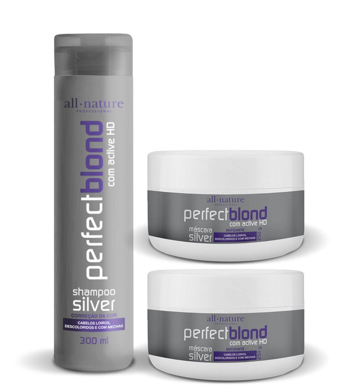 Máscara Silver Matizantes Nature Color 250g 2-Unids. e 1 Shampoo Silver Matizante 300ml - All Nature