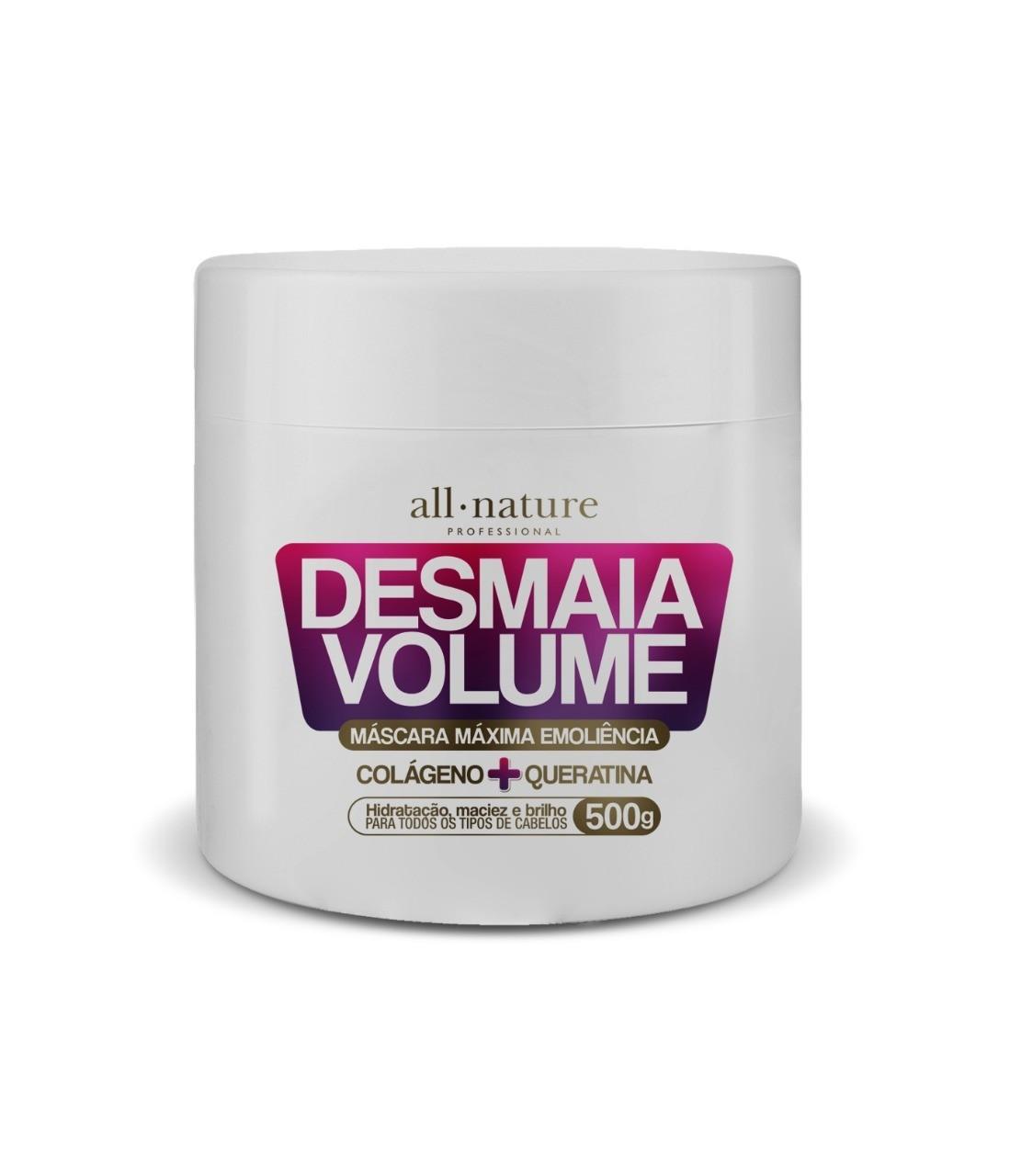 Máscaras  Desmaia Volume colágeno e Queratina 500g All Nature 2 Unids. e Máscara Desmaia Volume Queratina e Óleo de Coco 450g  Triox 1 und.