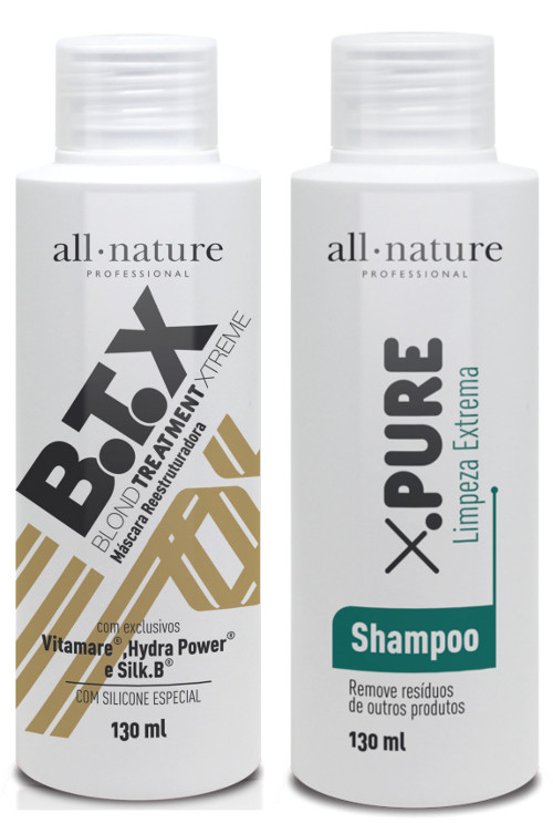 Mini Kit Botox Blond Control All Nature  Escova Progressiva Para Cabelos Loiros Descoloridos com Mechas ou Luzes