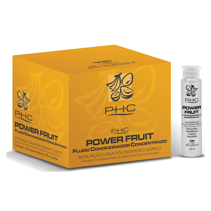 Power Fruit Fluido Concentrado Top Fruit   All Nature Aminoácidos Puros Restauração Instantânea