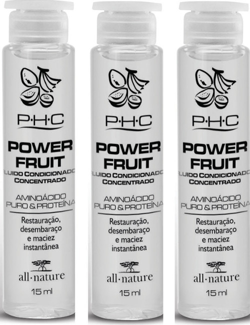 Power Fruit Fluido Concentrado Top Fruit   All Nature Aminoácidos Puros Restauração Instantânea  3 Ampolas 15ml