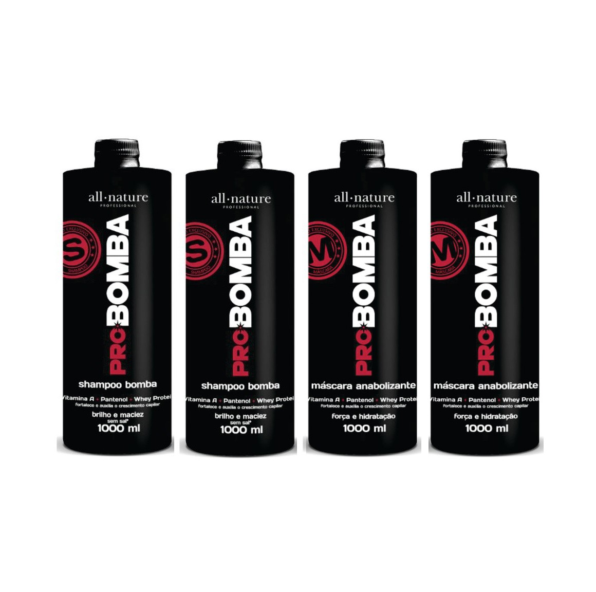 Pro Bomba, Contém Vitamina A, Pantenol, Whey protein e Mix de Aminoácidos Que Fortalece e Auxilia no Crescimento - All Nature 4 unids