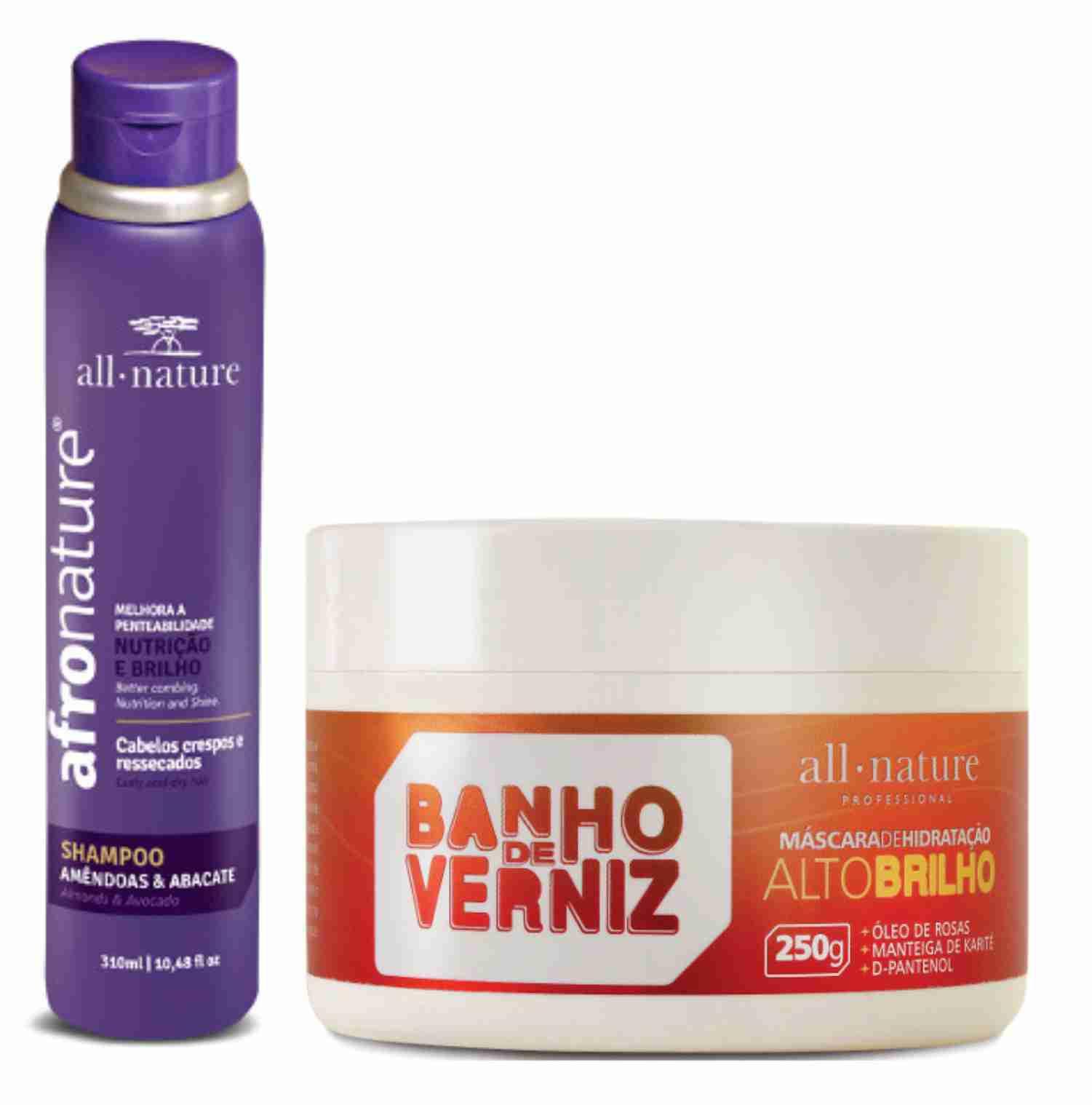Shampoo Amêndoas e Abacate 300ml Afro Nature + Máscara Banho de Verniz 250g Para Cabelos Secos e Ressecados - All Nature