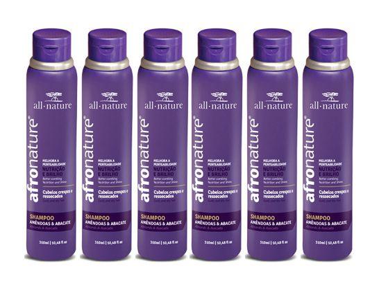 Shampoo Amêndoas e Abacate 300ml - All Nature Para Cabelos Secos , Ressecados, Cacheados, Crespos, e Afros - 6 unids a escolher