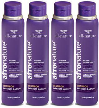 Shampoo Amêndoas e Abacate 300ml - All Nature Para Cabelos Secos , Ressecados, Cacheados, Crespos, e Afros - 4 unids a escolher