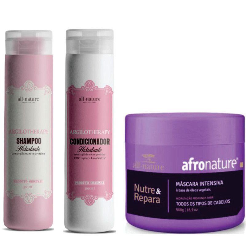 Shampoo + Condicionador Argilotherapy + Máscara Intensiva Afro 500g