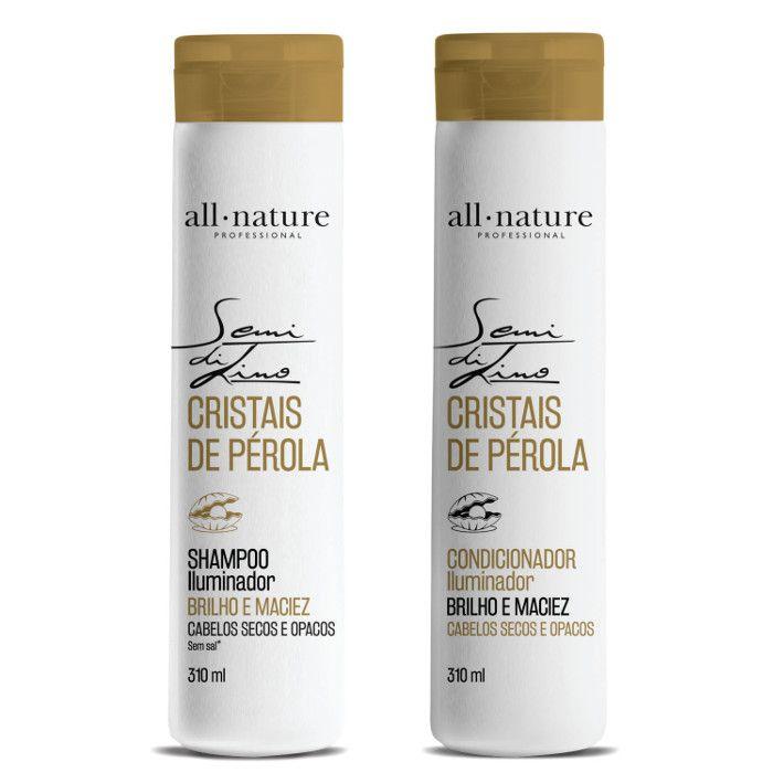 Shampoo e Condicionador Semi Di Lino Iluminador Cristais de Perola - All Nature, Para Cabelos Secos e Ressecados