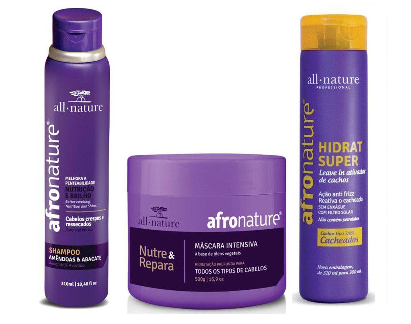 All Nature Manutenção e Hidratação Para Cabelos Secos e Ressecados, Cacheados, Relaxados e Com Permanente Afro