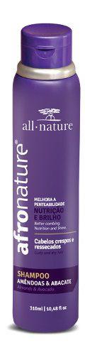 Shampoo de Amêndoas 300ml + Máscara Intensiva 500g Afro Nature e Ativador de Cachos Hidratante Super 300ml - All Nature